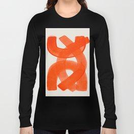 Mid Century Modern Abstract Painting Orange Watercolor Brush Strokes Langarmshirt