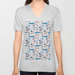 Modern hand painted pink blue watercolor nautical pattern Unisex V-Neck