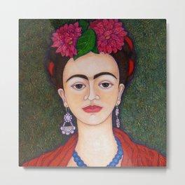 Frida portrait with dalias Metal Print
