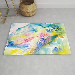 Sea Turtle Watercolor Illustration by Julie Lehite, Julesofthesea Rug