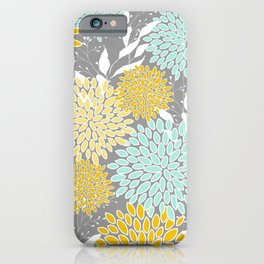 Floral Prints and Leaves, Gray, Yellow and Aqua iPhone Case