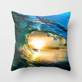 Glowing Wave Throw Pillow