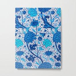 William Morris Jacobean Floral, Cobalt Blue Metal Print