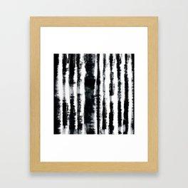 Tie-Dye Shibori Stripe BW Framed Art Print