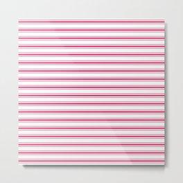 Bright Pink Peacock Mattress Ticking Wide Striped Pattern - Fall Fashion 2018 Metal Print