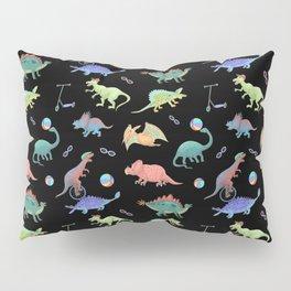 Rainbow Dinosaurs Black Background Theme Pillow Sham