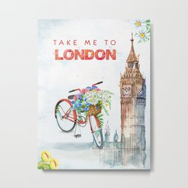 Take Me To London Red Bicycle Metal Print