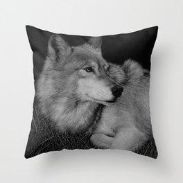 Little John, a gray wolf Throw Pillow