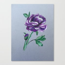 Purple Peony on Gray Canvas Print