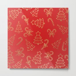 Elegant Christmas Red Faux Gold Foil Candy Cane Tree  Metal Print