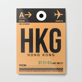 HKG Hog Kong Luggage Tag 2 Metal Print