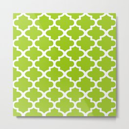 Arabesque Architecture Pattern In Lime Metal Print