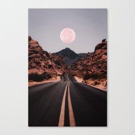 Road Red Moon Leinwanddruck