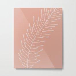 Blush Fern Shape Metal Print