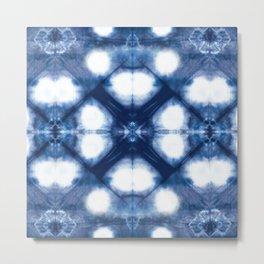 Circle Shibori Blue Metal Print