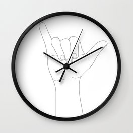Minimal Line Art Shaka Hand Gesture Wall Clock