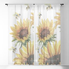 Sunflowers and Honey Bees Sheer Curtain