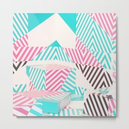 Artistic abstract pink teal geometric stripes Metal Print
