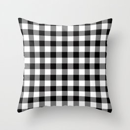 90's Buffalo Check Plaid in Black and White Throw Pillow