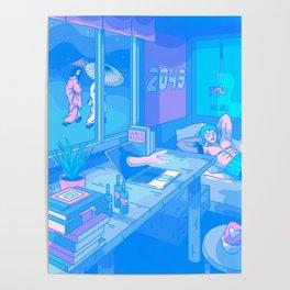 2049 Deep Sleep (Calming Dream Series) Futuristic Anime Interpretation Poster