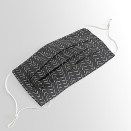 Mudcloth Big Arrows in Black and White Face Mask