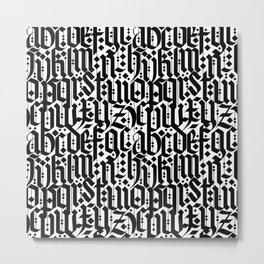 typography pattern 1 - old gothic calligraphy design, seamless Metal Print