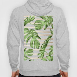 Simply Tropical White Gold Sands Stripes and Palm Leaves Hoody