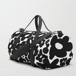 60s 70s Hippie Flowers Black Duffle Bag