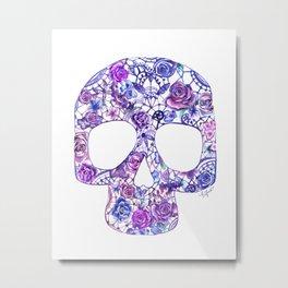 Candy Skull Purple Watercolor Metal Print