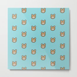 Cute Teddy Bear Pattern (Blue) Metal Print