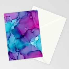 Alcohol Ink - Wild Plum & Teal Stationery Cards