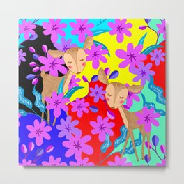 Cute wild sweet little baby deer fawns lost in the forest of delicate pink flowers colorful design Metal Print