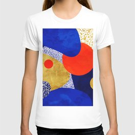Terrazzo galaxy blue night yellow gold orange T-Shirt