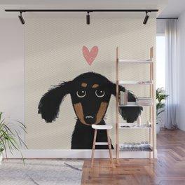 Dachshund Love   Cute Longhaired Black and Tan Wiener Dog Wall Mural