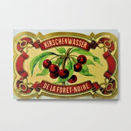 Vintage 1965 French Cherry Wine Bottle Label Kirchenwasser De La Foret-Noire Metal Print
