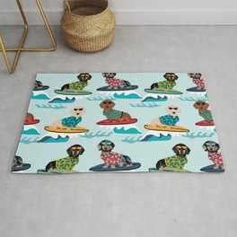 dachshund surfing dog breed pattern pet gifts Rug