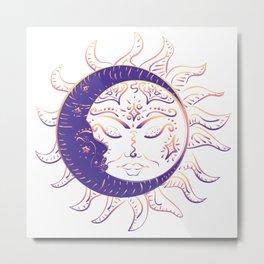 Modern tattoo of sleeping sun and crescent moon design. Metal Print