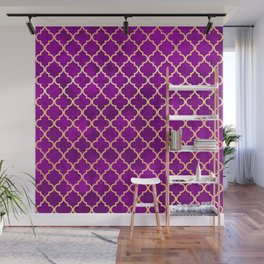 Purple and Gold Quatrefoil Art Deco Pattern Wall Mural