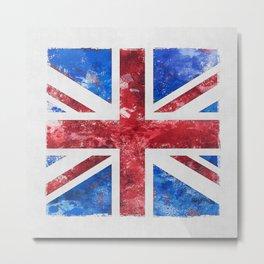 Union Jack Great Britain Flag Grunge Metal Print
