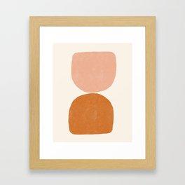 Terracotta Mid Century Modern Abstract Framed Art Print
