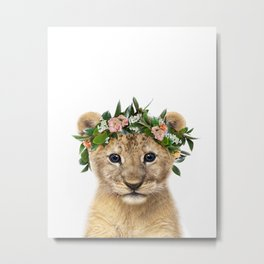 Baby Lion With Flower Crown, Baby Animals Art Print By Synplus Metal Print