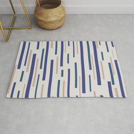 Interrupted Lines Mid-Century Modern Minimalist Pattern in Blue, Purple on a Pale Gray Background Rug