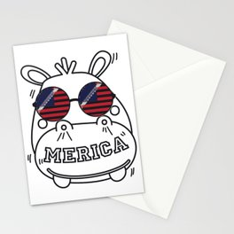 Merica Memorial Day Hippo Funny American Flag Stationery Cards
