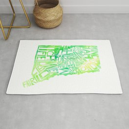 Typographic Connecticut - green watercolor map Rug