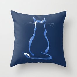 Sitting Cat from behind in Blue Throw Pillow