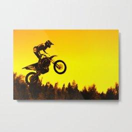 Sunset Run - Motocross Racer Metal Print