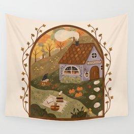 Autumn Bookshop Wall Tapestry