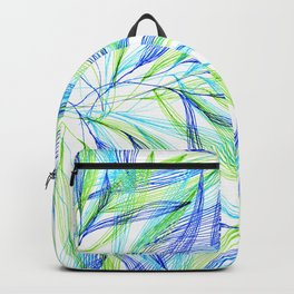 Underwater Forest #2 -Line drawing leaves Backpack