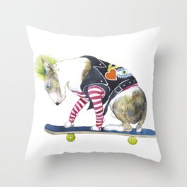 Skating punk bullterier Throw Pillow