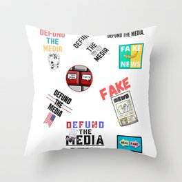 Defund the Media Set Bundle Throw Pillow